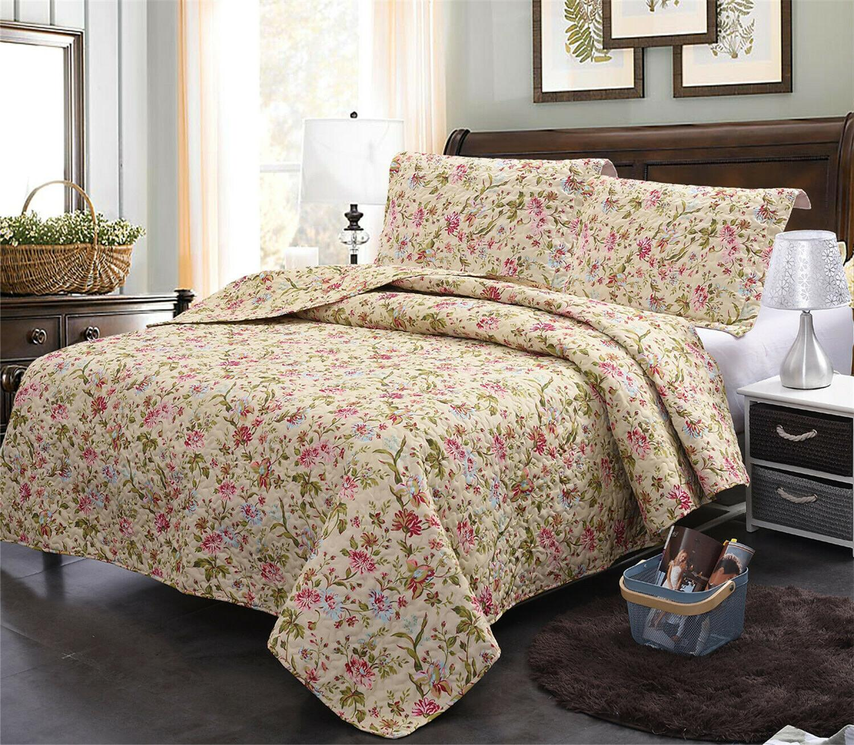 King Quilt Set Cottage Country Charming Floral Bedroom Beddi