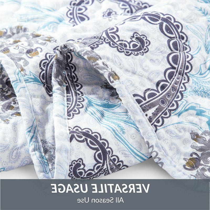 Bedsure Quilt Set Coverlet Paisley Pattern