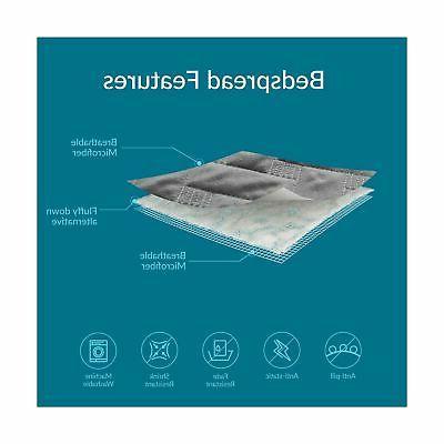 Bedsure Quilt Set Grey King - Basketweave Pattern Bedspread -...
