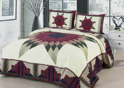 quilt set king queen cabin star traditional