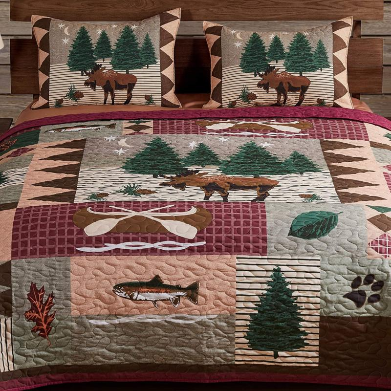 Greenland Home Moose Lodge Quilted Bedding Set, King, Natura