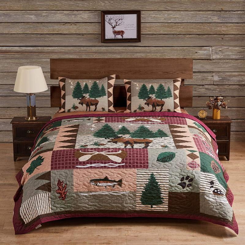 Quilt Set Mountain Moose Lodge Quilted Bedding Set King Size