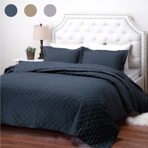 Bedsure Quilt Set Navy King Size 106x96 inches - Diamond Sti
