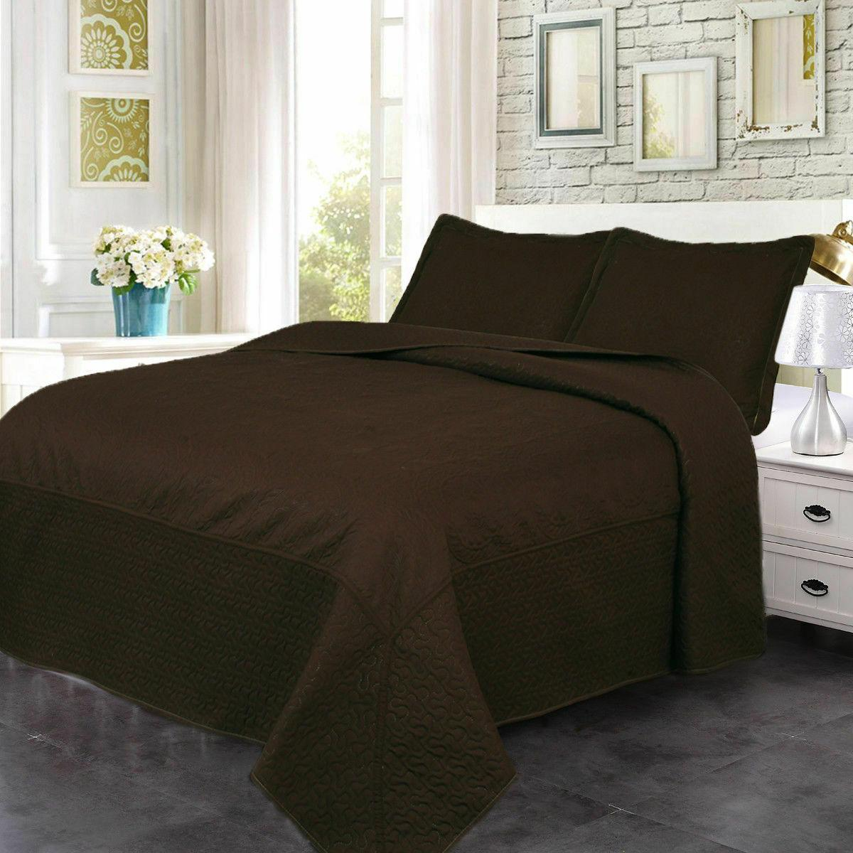 Quilt Stitched Embossed Pattern Bedspread Microfiber Coverlet