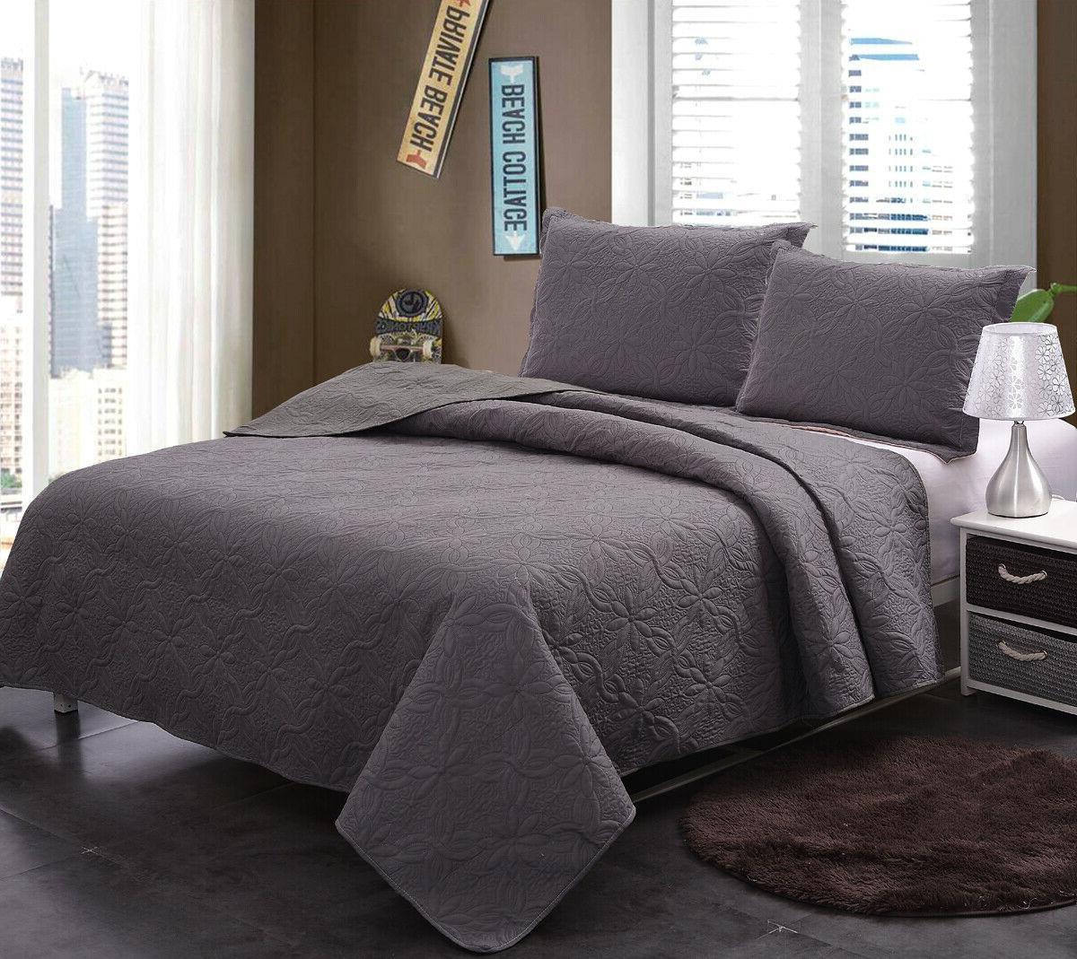 Bedspread Quilt Set Soft Microfiber Lightweight Coverlet Qui