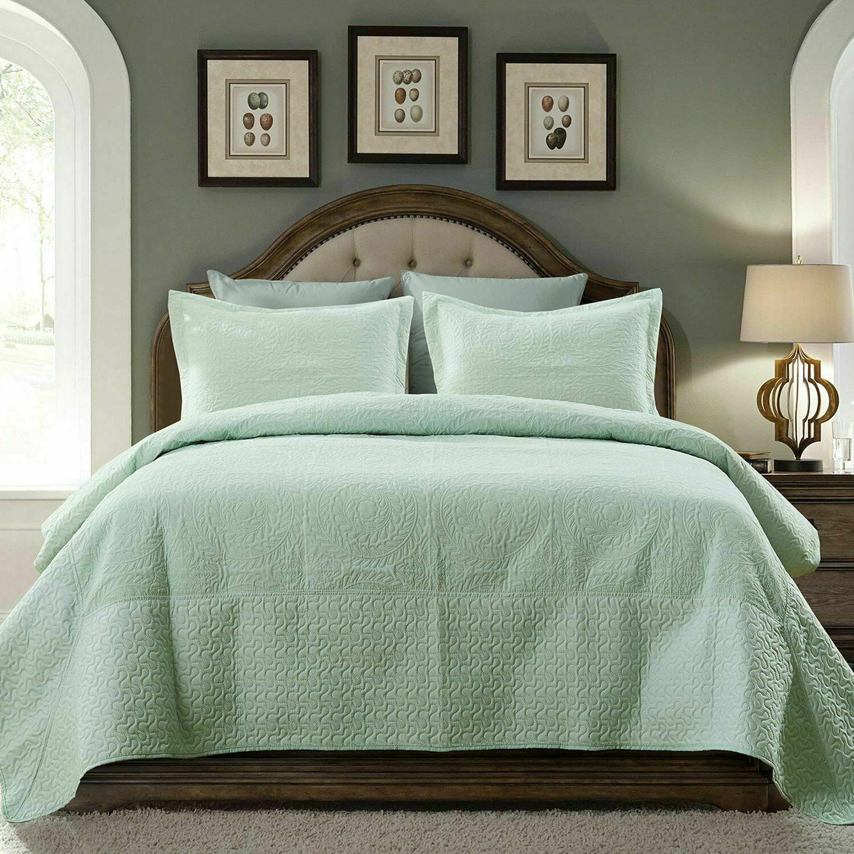 quilt set stitched embossed pattern bedspread microfiber