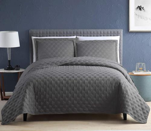 EXQ Home Quilt Set Twin Size Grey 2 Piece,Lightweight Hypoal