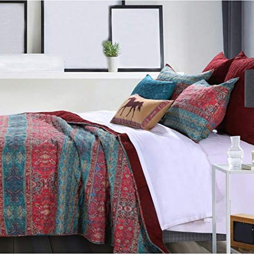 3 Piece Red Damask Quilt Full Rich Bohemian Design, Reverse Bedding, Traditional Cotton,