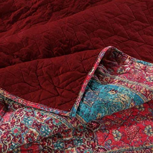 3 Piece Red Blue Damask Full Queen Rich Design, Rosewood Reverse Style,