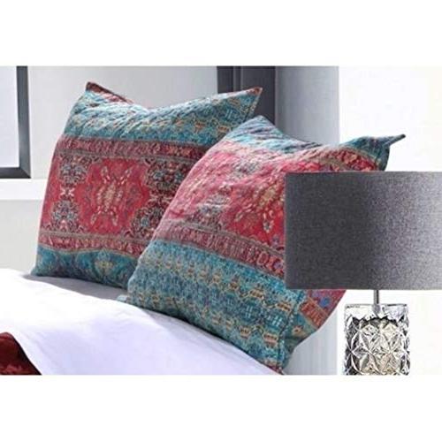 3 Damask Stripes Pattern Quilt Full Rich Bohemian Motif Design, Solid Rosewood Reverse Cotton,
