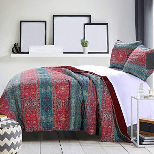 red blue damask stripes pattern
