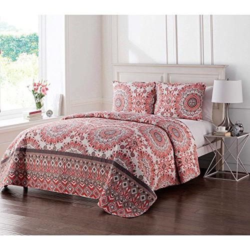 2 Red Gray Floral Twin Xl Set, Grey Flowers Printed Master Bedroom Contemporary, Polyester