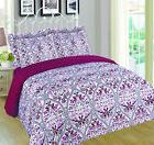 Reina 6 Piece Floral Reversible Print Quilt Bedspread Set wi