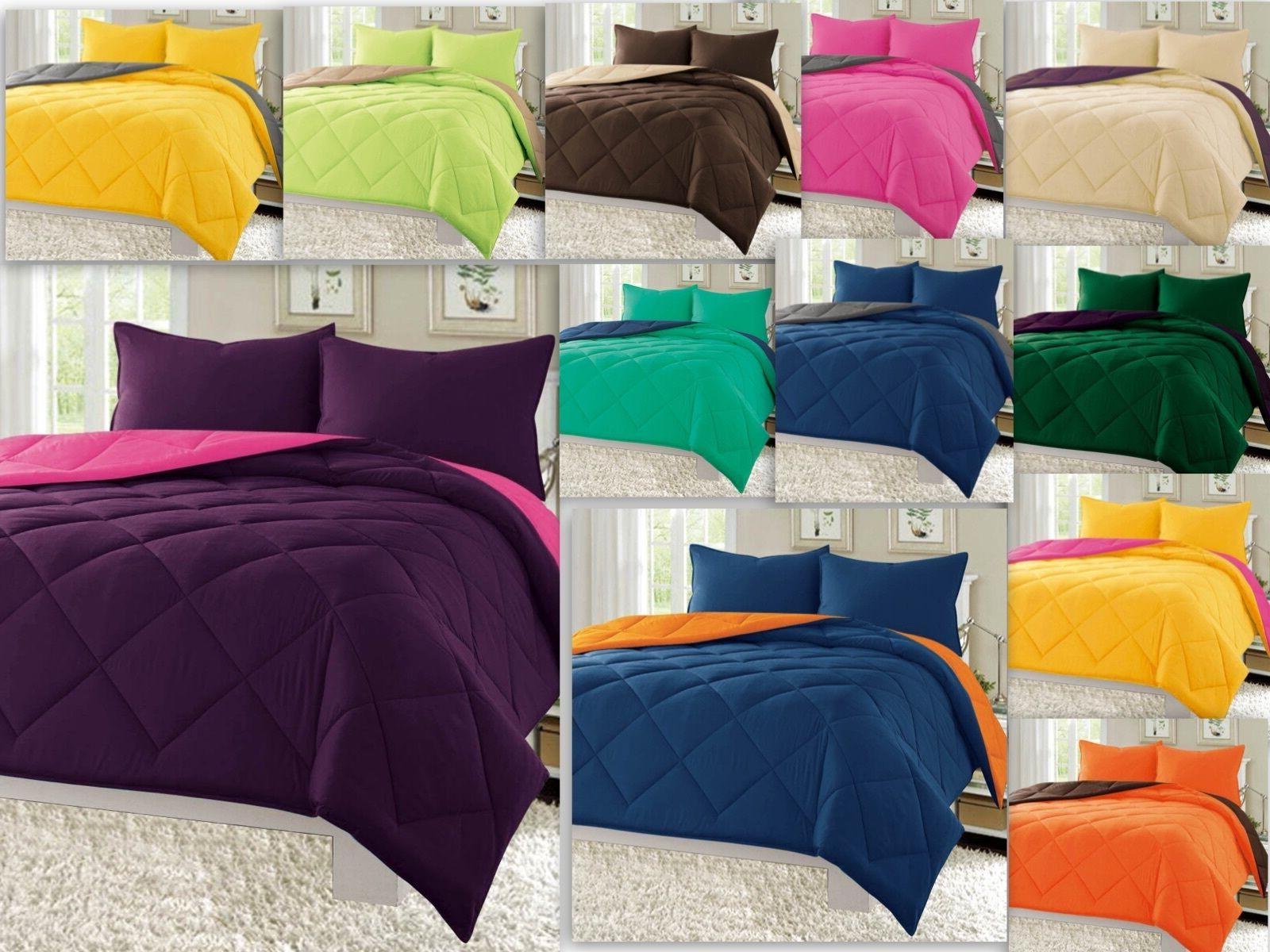 reversible 3pc comforter set microfiber quilted bed