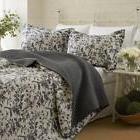 Reversible Coverlet Set Quilt and 2 Shams Floral White/Dark