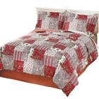 Reversible Floral Quilted Mariana Comforter Set With Bedskir