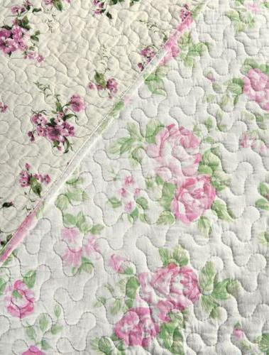 REVERSIBLE Pink Washed 100%-Cotton Quilt or Throw