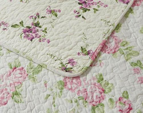 REVERSIBLE Pink Rose Washed 100%-Cotton Quilt or