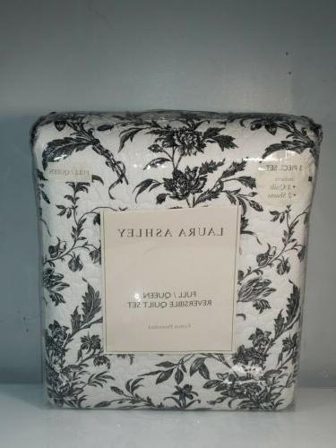 reversible quilt set black and white full