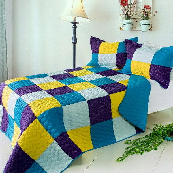 rhapsody 3pc vermicelli quilted patchwork quilt set