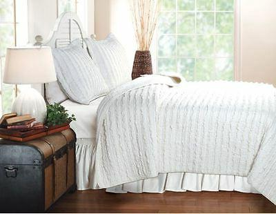 Greenland Home Fashions - Ruffled Quilt Set, 2-Piece Twin Wh