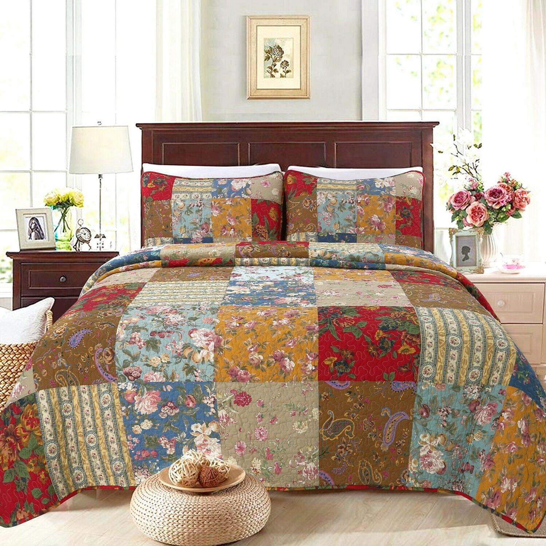 ryleigh patchwork cotton reversible quilt set bedspread