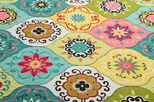 Tache Home King Piece Multi Flower Bedspread Quilt King