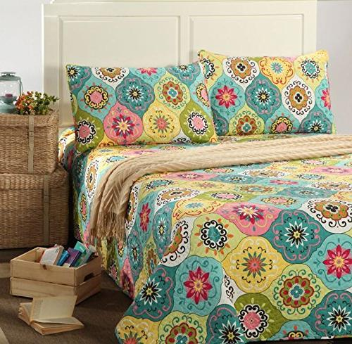 Tache Home Fashion SD3199-Cal King 3 Piece Multi Bedspread Quilt California King