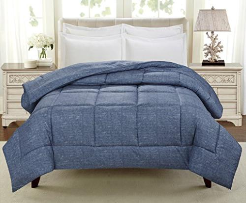 "Swift Home Soft Light-Warmth Goose Down-Alternative 68"" x 90"", Indigo"