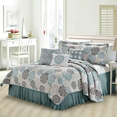 Home 6 Piece Marina MDLN Printed Quilts Set, King,