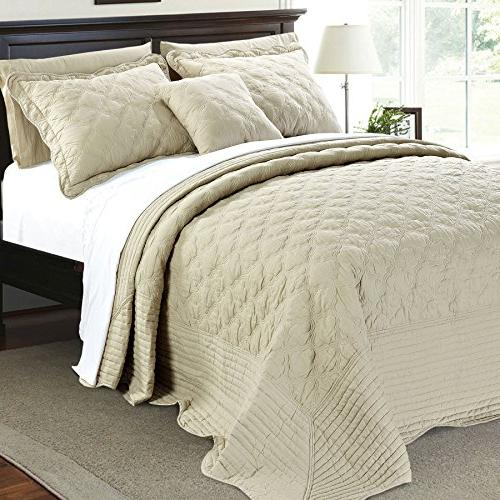Serenta Quilted 4 Piece Bedspread Set, Natural