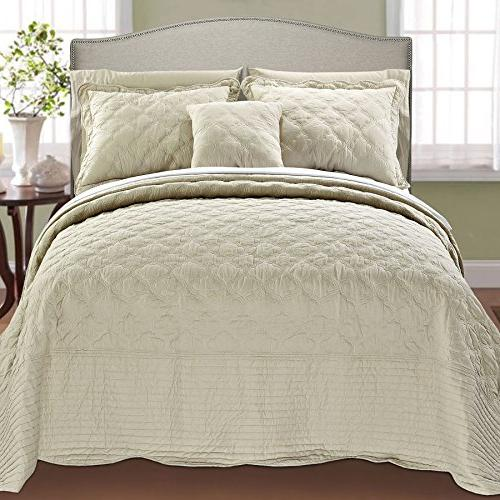 Serenta Quilted Cotton 4 Piece Bedspread Natural