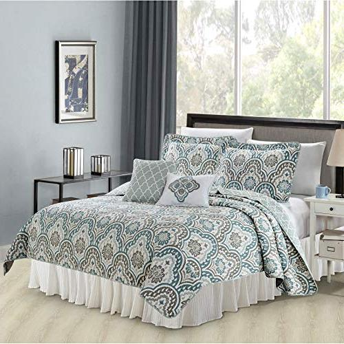 Serenta Printed Bedspread Bed cover Quilt Cotton Polyester Filled Embroidery Pillow Set, Queen