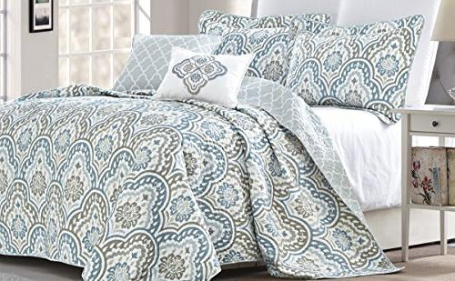 Serenta 5 Aqua Printed Prewashed Bedspread cover Quilt Set, Queen