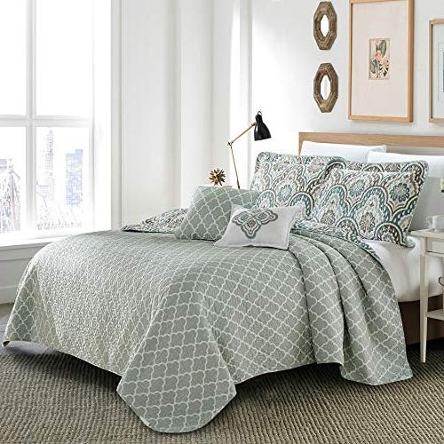 Serenta Ikat 5 Piece Aqua Printed Quilted Coverlet Bedspread Bed cover Summer Quilt Blanket Cotton Polyester Filled Set,