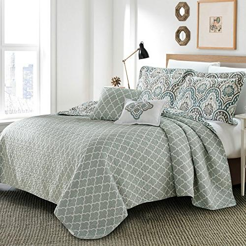 Serenta Tivoli Ikat 5 Piece Printed Prewashed Bedspread cover Quilt with Polyester Filled Set, Queen