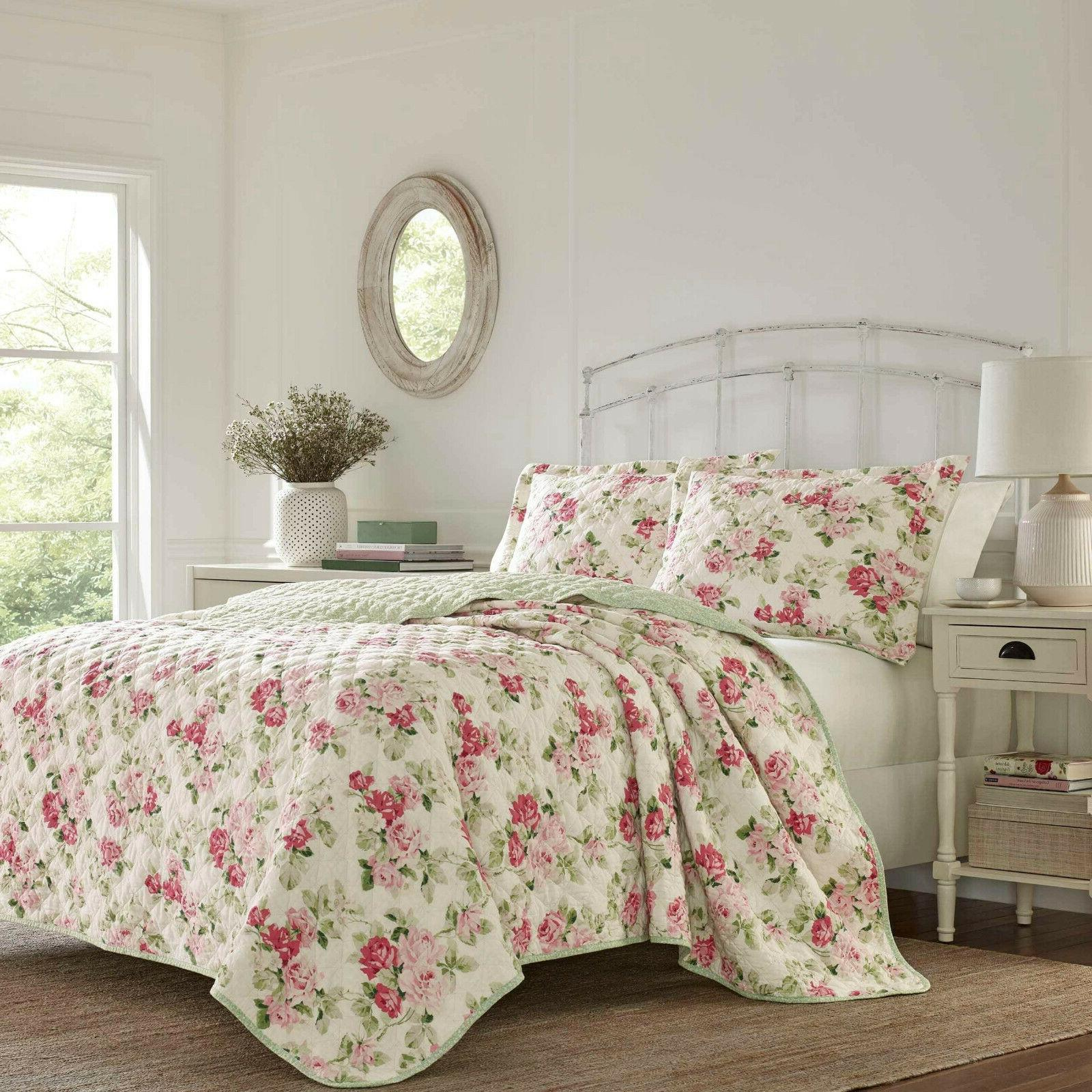 Laura Ashley Shabby Chic Floral Printed Pink,Green 3-PC Cott