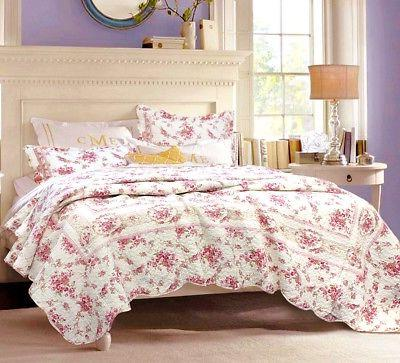 Shabby Chic Vintage Rose 100% Cotton Quilt Set, Bedspread, C