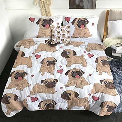 Sleepwish Puppy Pug Set Dog Printed Twin Size