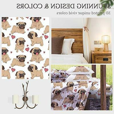 Sleepwish Pug Comforter Set 3D Dog Printed Twin Size 4 Pieces Cu