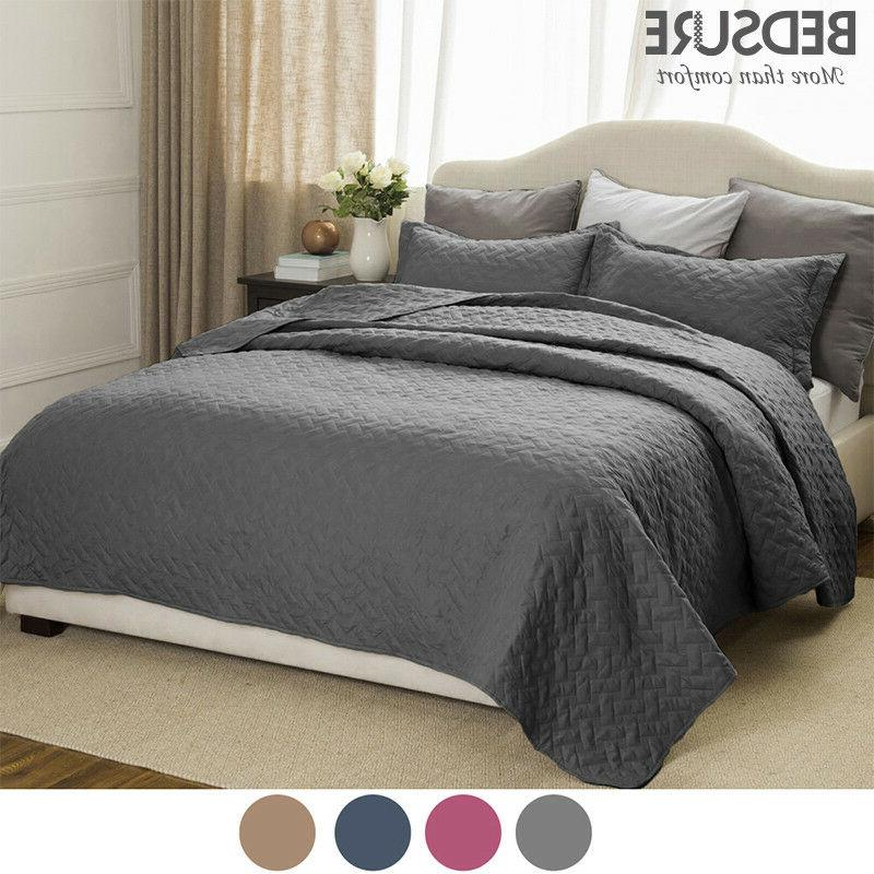 soft 3 piece basketweave quilt set lightweight