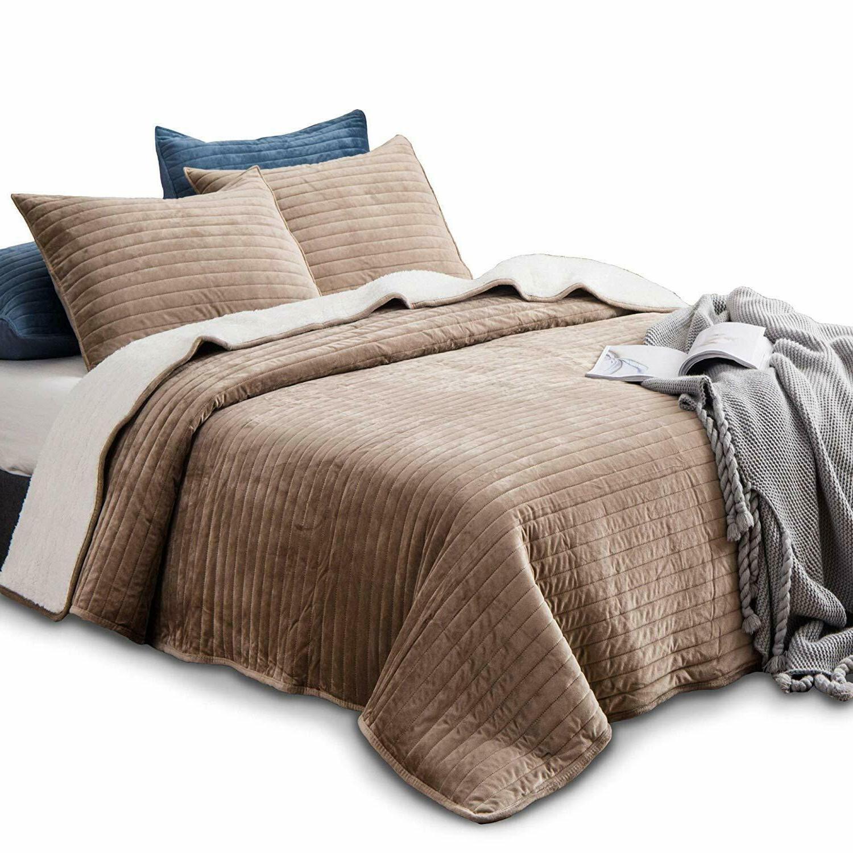 Soft Sherpa Fleece Bedding Quilt Bedspread Blanket