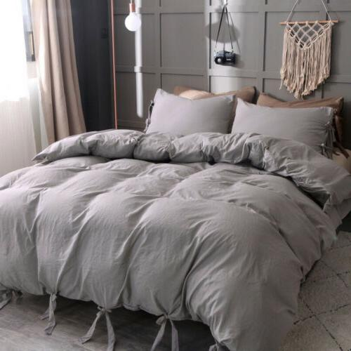 Soft Washed Cotton Solid Duvet Cover Quilt Cover Queen