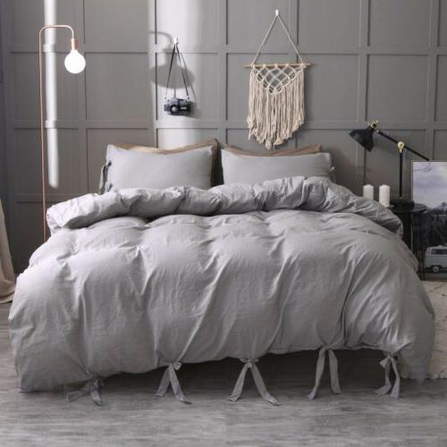 Soft Washed Cotton Blend Solid Duvet Quilt Cover King