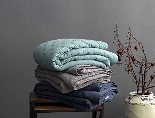 KASENTEX Quilt-Coverlet-Bedspread-Blanket-Set Shams, Ultra Soft, Machine Washable, Season, Nostalgic Design Hypoallergenic - Solid