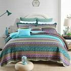 striped jacquard style cotton patchwork bedspread quilt