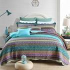 NEWLAKE Striped Jacquard Style Cotton Patchwork Bedspread Qu