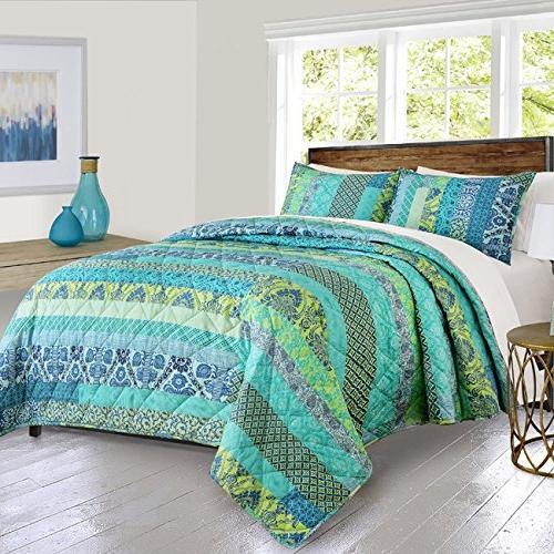 stripes floral motif quilt set