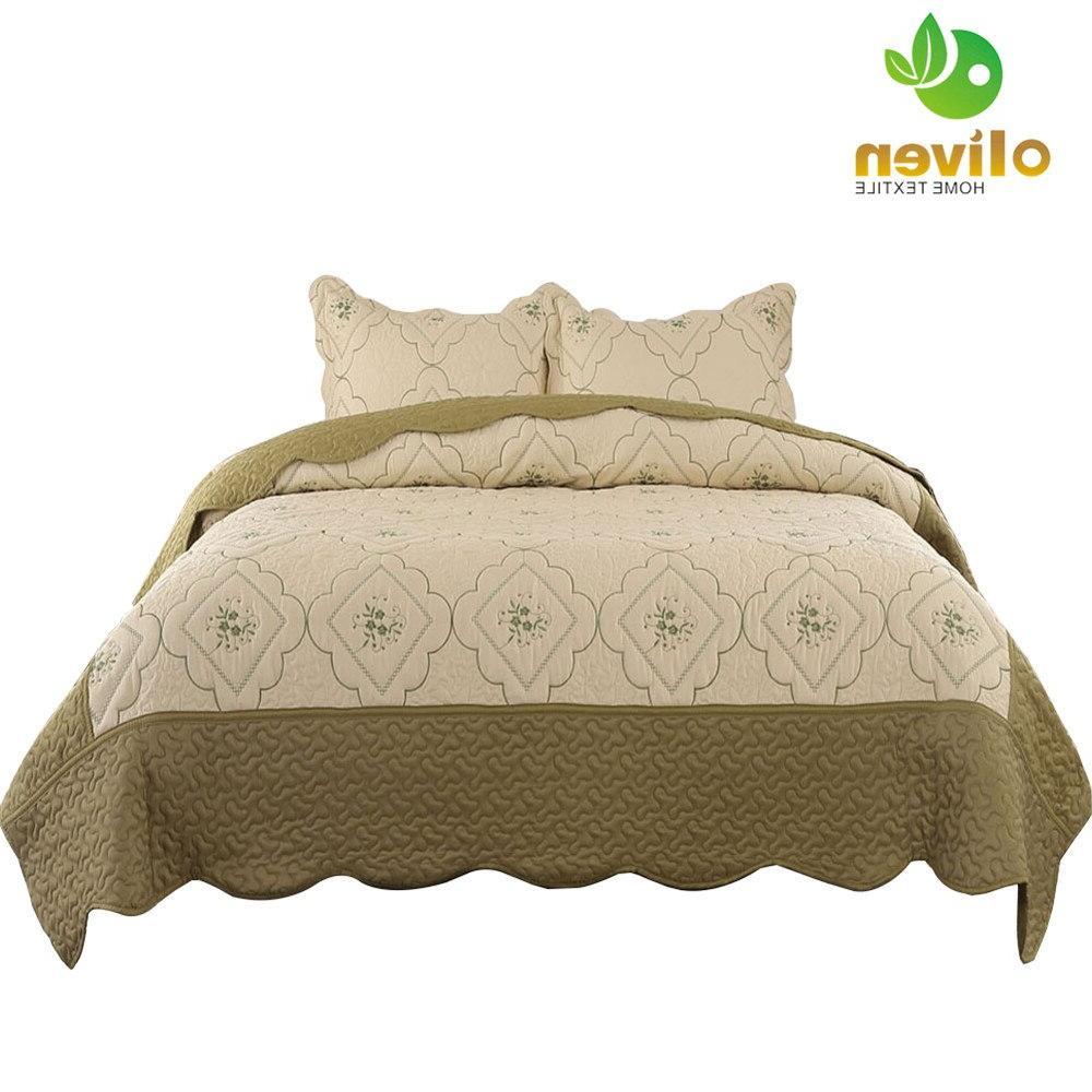 Summer Queen Size Coverlet Floral Embroidery Pillow <font><b>Set</b></font> Q45