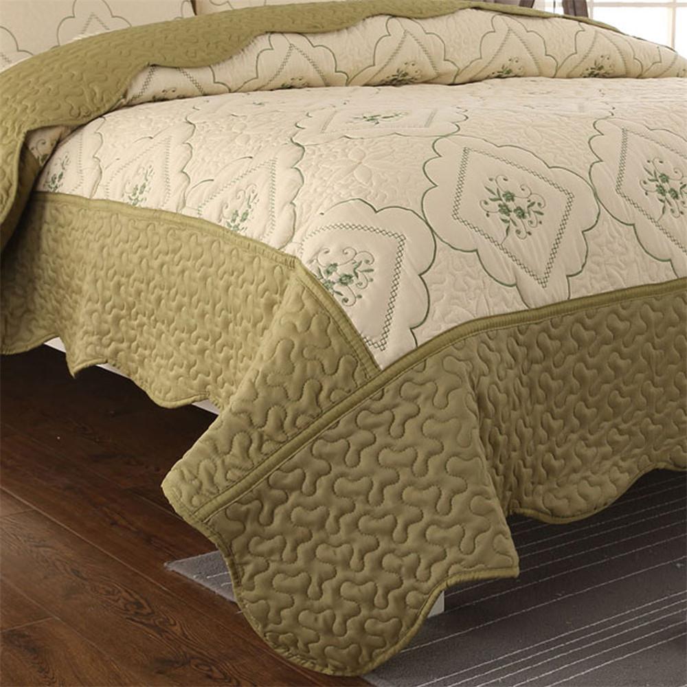 Summer Bedspreads Floral <font><b>Quilts</b></font> Pillow Shams Green <font><b>Set</b></font>